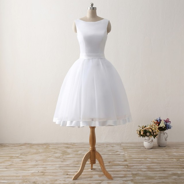 Short Beach Wedding Dresses Backless Women Knee Length Organza Satin Formal Bridal Party Gowns White Dress With Bow