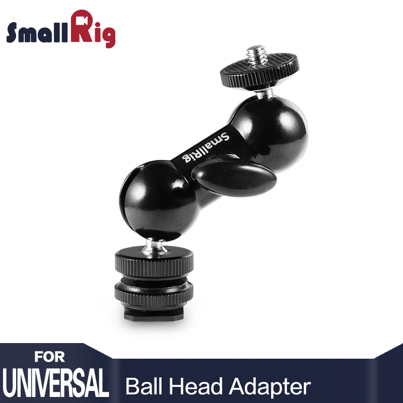 SmallRig Cool Ball head V1 Multi-function Double Ball head with Shoe Mount & 1/4 Screw for Monitors Led Light - 1135 vorke v1 mount