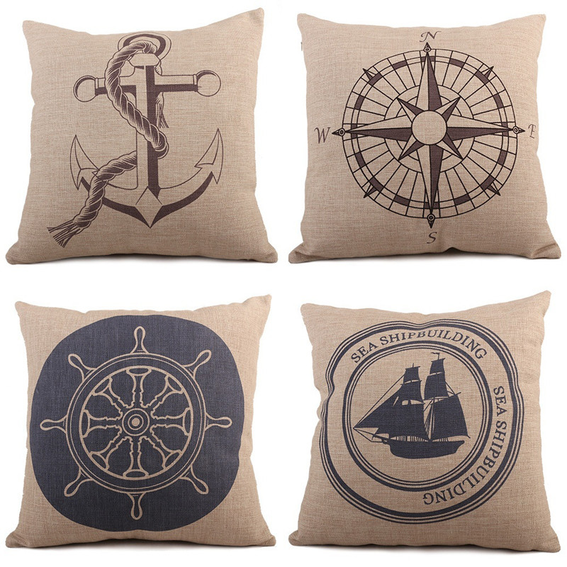 Vintage Style Nautical Beige Throw Pillow Cotton Linen Square Cushion Cover Chair Waist Pillow Cover Home Decoration