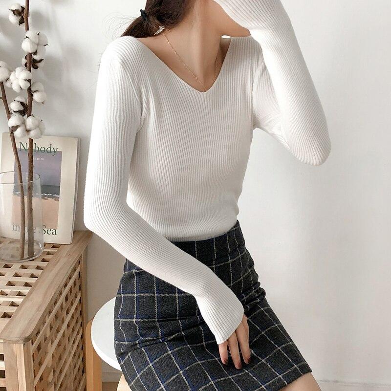 Herbst winter neue 2018 frauen pullover und pullover mit v-ausschnitt feste dünne reizvolle elegante dame pull outwear tops