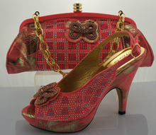 African Shoes With Matching Bag Set Nice African wedding/party deress for Pink color shoes and ba set in ME0086.