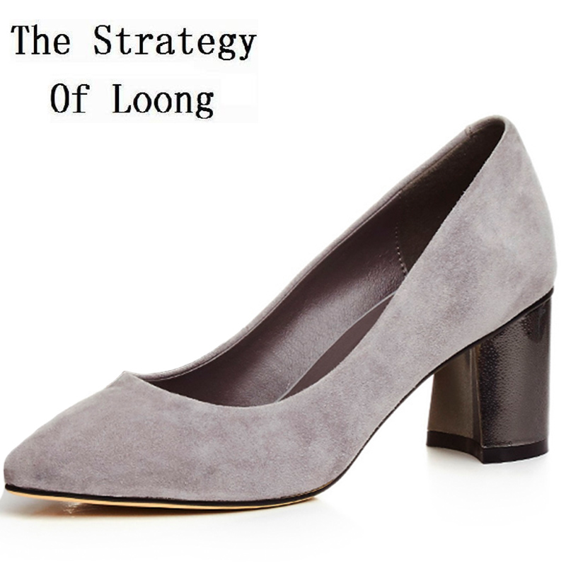 Women Sheepskin Square Heels Pointed Toe Summer Pumps Real Leather Fashion Comfortable Office High Heels Shoes 20170228