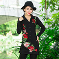 De punto de algodón mini dress de las nuevas mujeres de manga larga botón de apertura de cama cuello otoño ladies dress casual plus size shirt dress negro