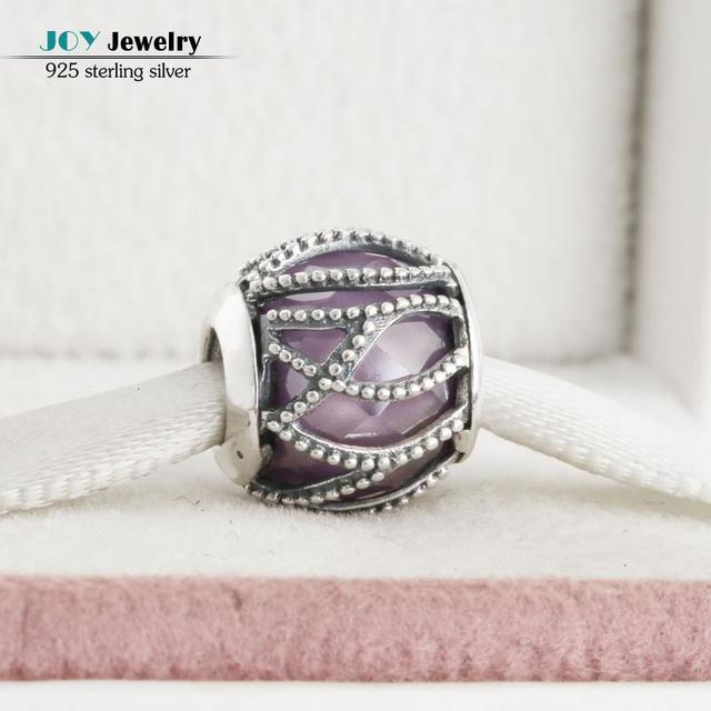 Fit Pandora Bracelets Diy Purple Intertwining Radiance Charms Original 925 Sterling Silver AAA CZ Beads For Jewelry Making 2016