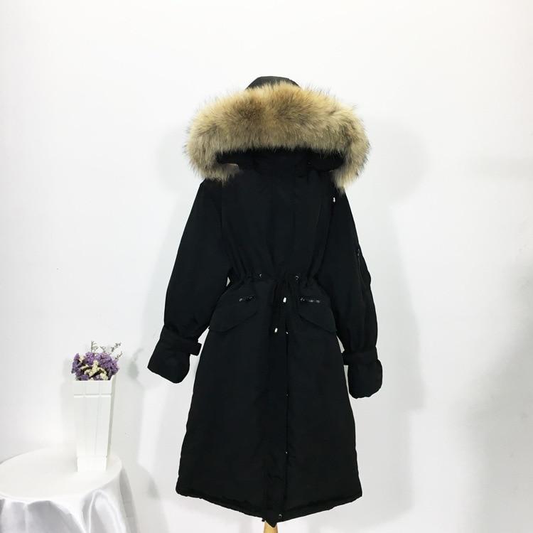 Large raccoon dog fur collar white duck   down   jackets women   down     coats   2019 autumn winter