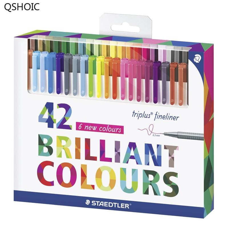 Assorted 42 Colors 0 3mm Staedtler Color Pen Set Triplus Fineliner Pens Card Box