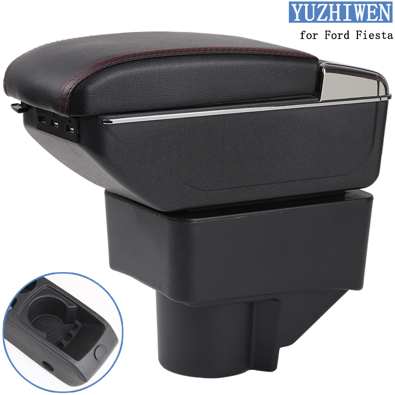 Image 2 - For Ford Fiesta Armrest Box Ford Fiesta Universal Car Central Armrest Storage Box cup holder ashtray modification accessories-in Armrests from Automobiles & Motorcycles