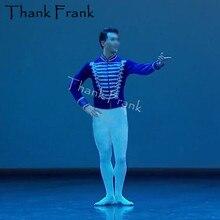 Profesjonalne męskie kostium baletowy chłopcy z długim rękawem książę taniec Top wykonane na zamówienie aksamitna dorosłych mężczyzn kostiumy sceniczne Rave ubrania C571