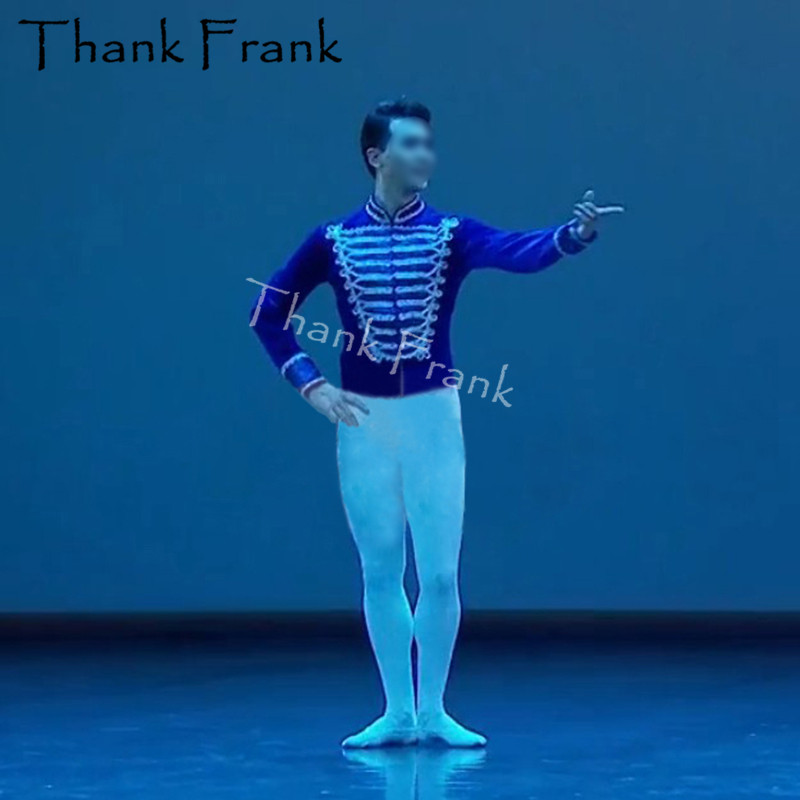 Professional Male Ballet Costume Boys Long Sleeve Prince Dance Top Custom Made Velvet Adult Men Stage Costumes Rave Clothes C571