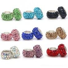 TOGORY 2 шт./лот, 11 цветов, стразы из смолы, бусины, подходят для Pandora, подвески, браслеты, ожерелья, европейские бусины для изготовления ювелирных изделий