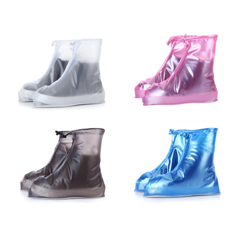 1pair Cycling Shoes Cover Waterproof Protector Shoes Boot Cover Unisex Zipper Rain Shoe Covers High Top Anti Slip Rain Shoes - title=
