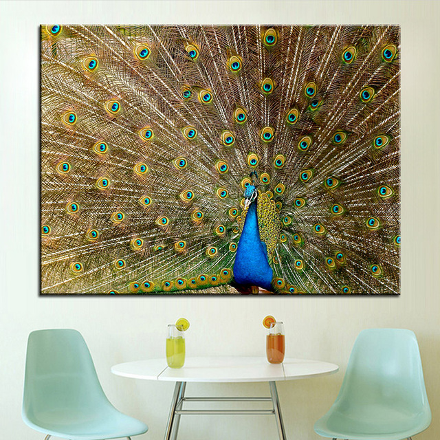 Us 8 66 49 Off Large Size Printing Oil Painting Peacock Plumage Wall Painting Pop Art Wall Art Picture For Living Room Painting No Frame In Painting
