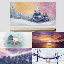 3D Headboard Elk Red House Among Snow Mountains Abandoned Boat in the Sunset Purple Dream Forest Cedar Home Decor Paste