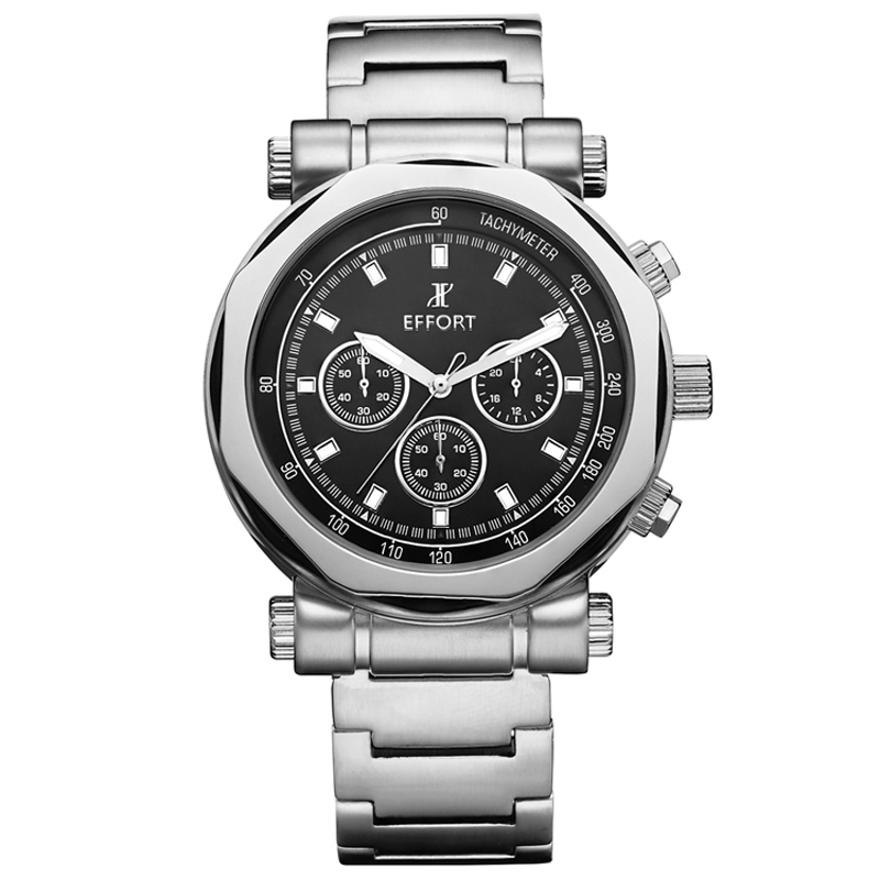 ФОТО EFFORT Men Sports Quartz Watches  Relojes de moda Hombre Stopwatch Shock Resistant Waterproof  Full Steel Wrist Whatch EF.2006M