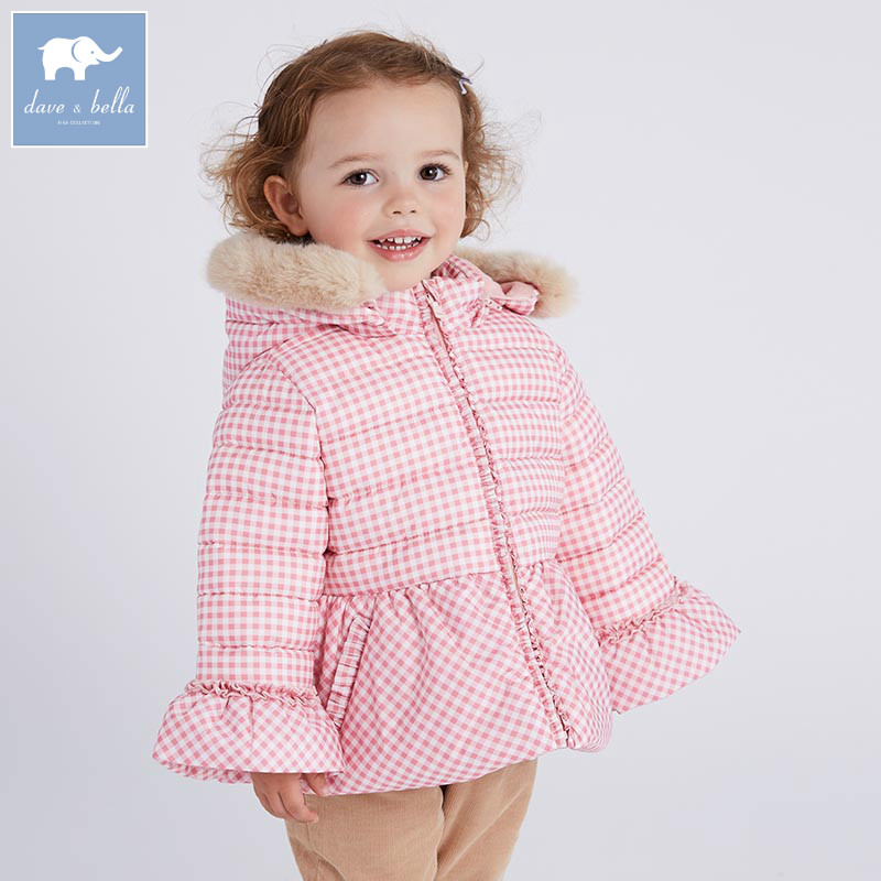 DBM6516 dave bella winter baby girl fashion Jackets toddler girls Hooded outerwear children pink plaid hight quality coat