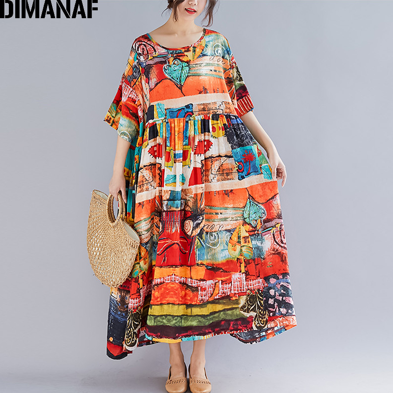 DIMANAF Plus Size Women Print Dress Summer Sundress Cotton Female Lady Vestidos Loose Casual Holiday Maxi Dress Big Size 5XL 6XL