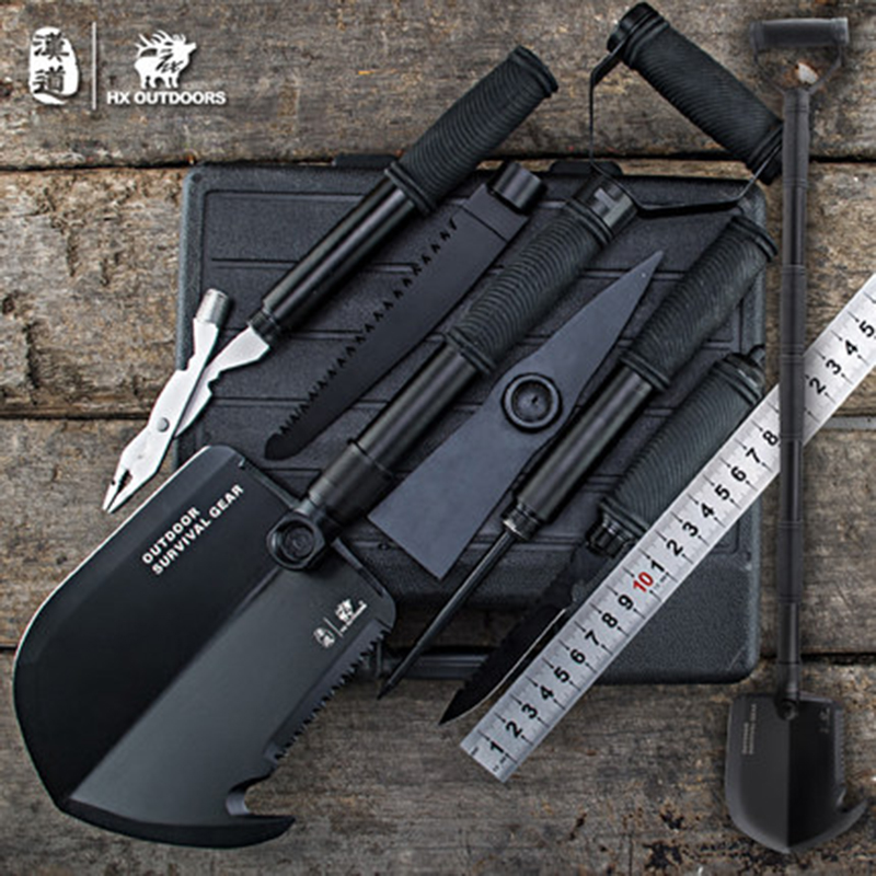 Multifunctional Camping shovel Cutting Axe Folding Outdoor tools for camp fishing hunting survival car enthusiast with Toolbox