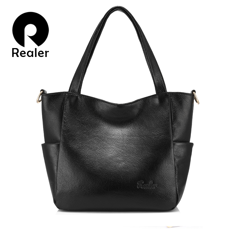Realer Messenger Bags Women Handbags Genuine Leather Shoulder Bag Fashion Simple Zipper Lady Crossbody Bag Large Capacity Totes