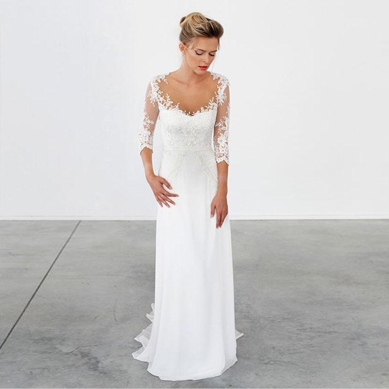 LORIE Wedding Dress Long Sleeve Scoop Appliques Lace Chiffon Mermaid Bridal Dress Custom Made Wedding Gown Free Shipping 2019