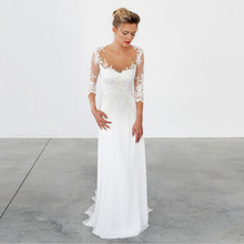 LORIE Wedding Dress Long Sleeve Scoop Appliques Lace Chiffon Mermaid Bridal Custom Made Gown Free Shipping 2019