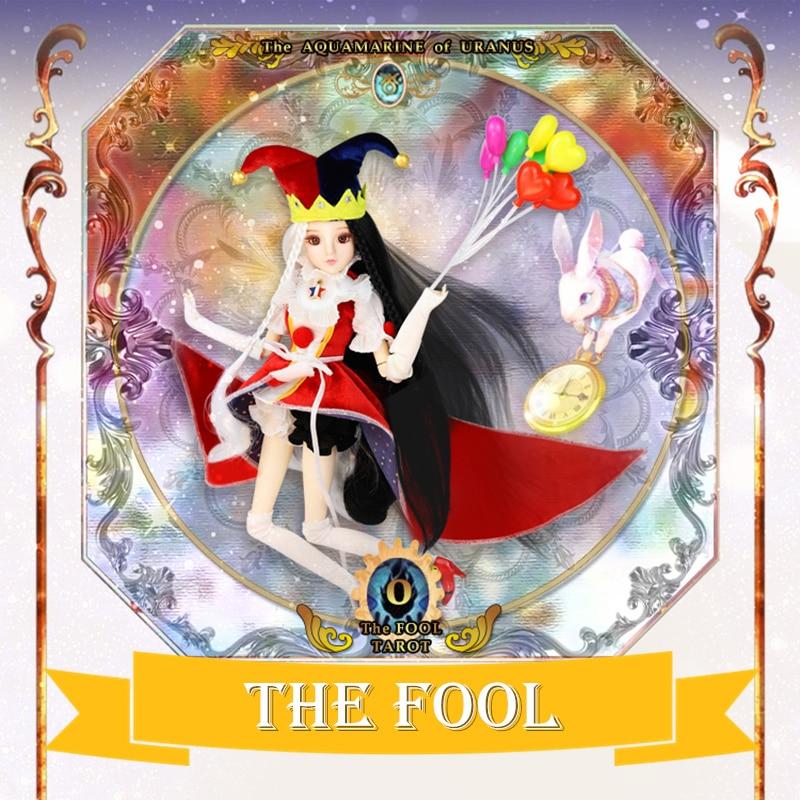 MM girl Major Arcana The Fool 0 joint body doll white and black hair TAROT CARD 34cm east barbi the classic tarot карты