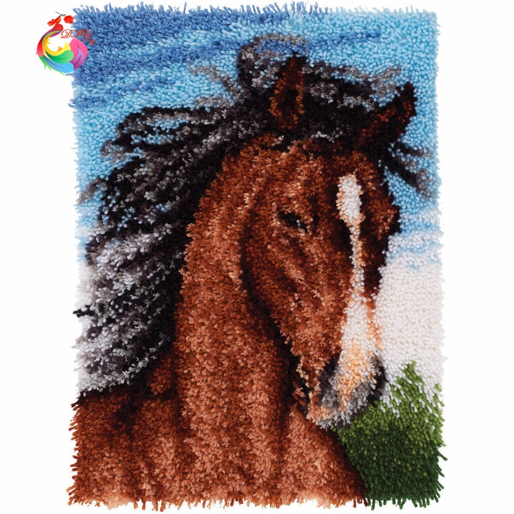 Kits for embroidery Latch Hook Kit Rug set of crochet hooks DIY Craft horse rugs Set for embroidery animal Big size110x78cm