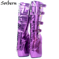 Sorbern New 8 Locks Key Ballet Heel Boots For Women Metallic Purple Heelless Fetish Punk Goth Pinup Ballet Lockable Boot Ladies