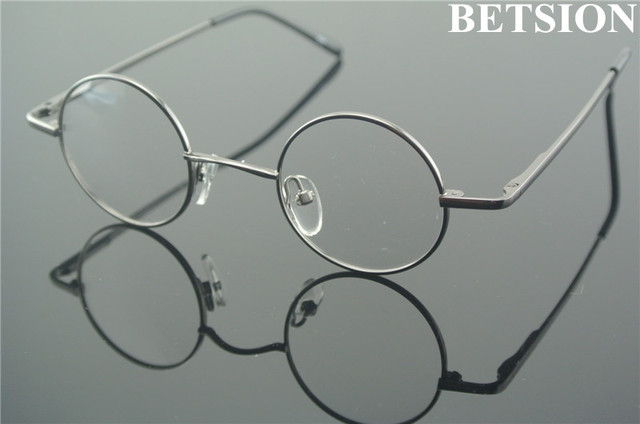 03601f8a2a5b Small Size 42mm Vintage Round Reading Glasses Spring Hinges Full Rim +100 + 125 +