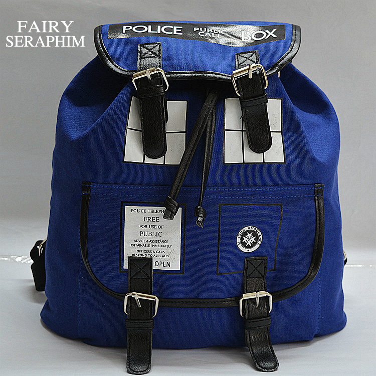 FAIRY SERAPHIM Doctor Who Canvas Backpack European style Anime Dr Who Tardis Children School bag girls mochila Backpack Стол