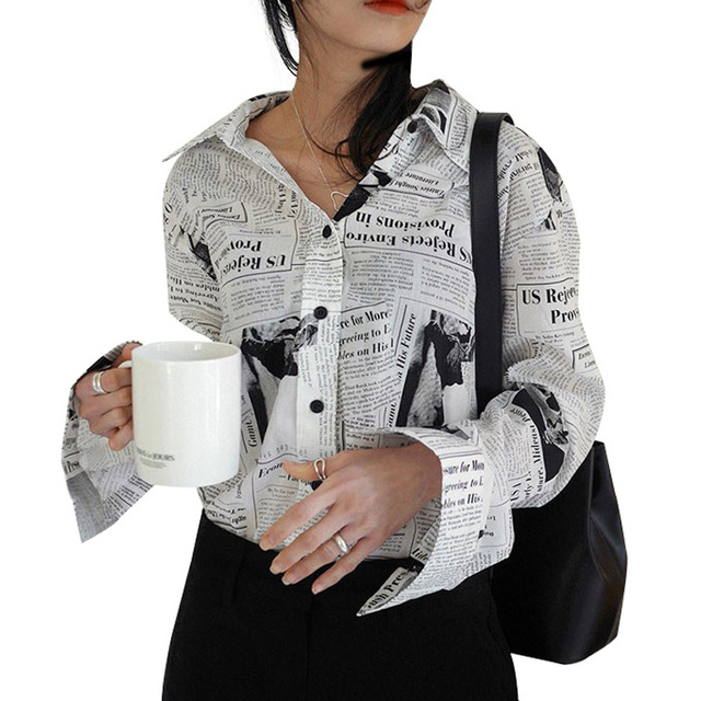 Autumn Blouse For Women Fashion Newspaper Printed Long Sleeve Shirts Female Turn-down Collar Single-breasted Streetwear Tops