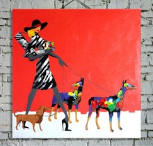 Modern Decorated Figure Art Painting on Canvas Beauty Lady with Animals Family Hand Painted Red Background 1PC
