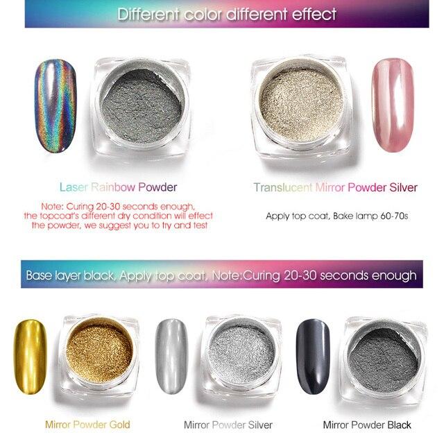 Kit de polvo de Metal efecto espejo holográfico de uñas profesional Polvo de pigmento cromado esmalte Gel oro plata espejo efecto