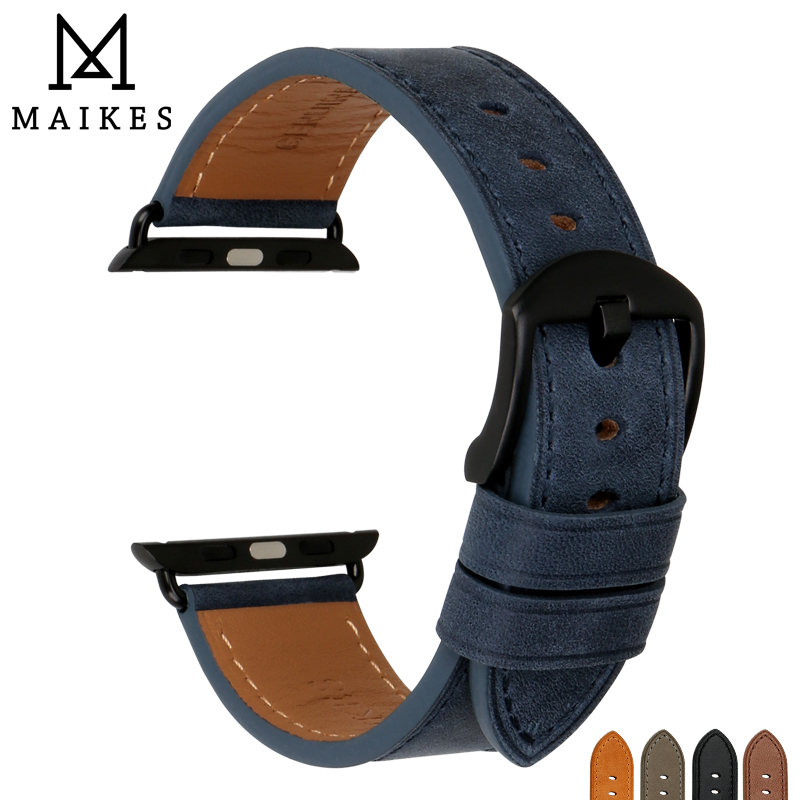 все цены на MAIKES High Quality Leather Watch Strap For Apple Watch Band 42mm 38mm Series 3/2/1 All Models iWatch Watchband онлайн