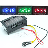 Free delivery Hot Sale LED Display Digital Clock 12V/24V Dashboard Car   Motorcycle     Accessory   1PC Drop shipping new