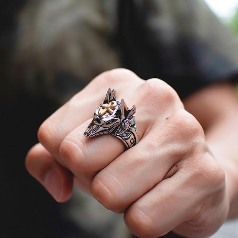 Unisex Personal Self Defense Ring Punk Anubis Egyptian Cross Beast Anti-wolf Finger Ring Titanium Steel Vintage Wolf Rings Gift