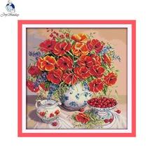Joy sunday still life style Poppy and cherry counted cross stitch dog patterns kits online store for handcratf embroidery стоимость