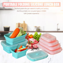 XYj 4 Pcs Silicone Collapsible Lunch Bento Box Heat-Resistant Folding Food Storage Container Outdoor Camping Portable Tools Kids(China)