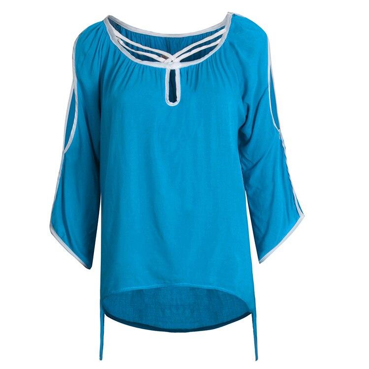 Blusa de la gasa Camisa de Las Mujeres Camisas Hombro Frío Más Tamaño Correa de