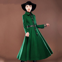 green colour High – grade womens winter jackets and coats wool manteau femme women's cashmere coat long  maxi cashmere fur coat