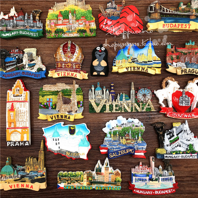 Hokkaido Berlin Travel Suitcase 3D Resin Fridge Magnets Tourism Souvenirs Refrigerator Magnetic Stickers Gift Home Decorations