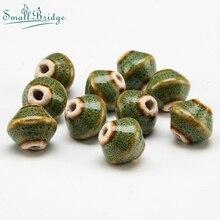 15mm Gyro Ceramic Beads for Women Braided Bracelet Material Two Hole Flower Glaze Porcelain Spot Wholesale U801