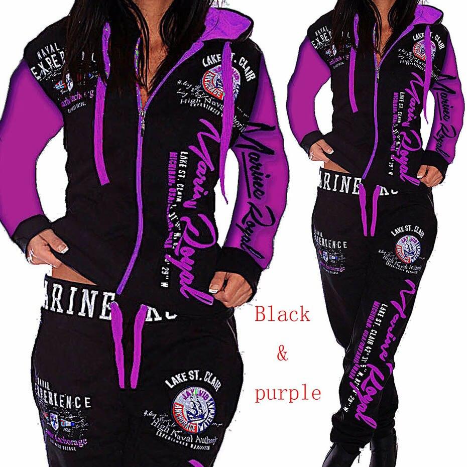 ZOGAA 2019 Mulheres Corredores 2PCS Sportwear Outono Inverno Feminino Terno Moda Com Capuz Terno dos Esportes das Mulheres Define mulheres agasalho conjunto
