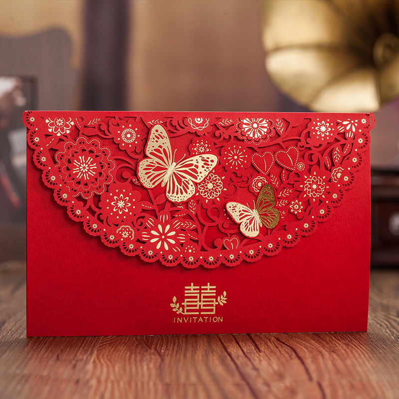 Chinese Style Red 3D Butterfly Decor Happiness Wedding Invitation ...
