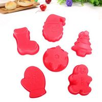Christmas Pastry Decorating 6pcs Set Santa Snow Boots Gloves Gingerbread Man Christmas Tree Silicone Cake Bakeware