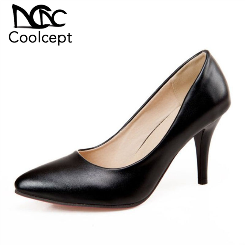 2647228479 Coolcept Plus Size 31-47 Office Lady High Heel Shoes Women Pointed Toe Thin  Heel
