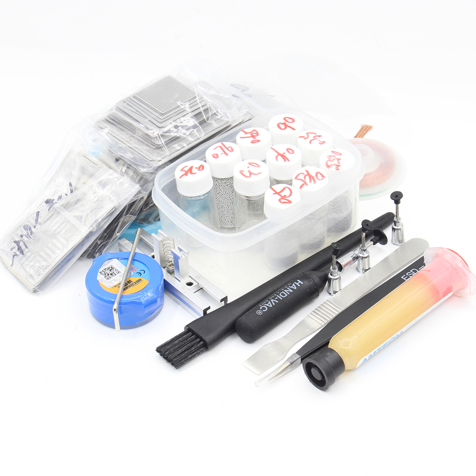 459pcs BGA Reballing Rework Directly Heat Stencils Template Paste Solder Balls Reballing Station kit 10pcs BGA