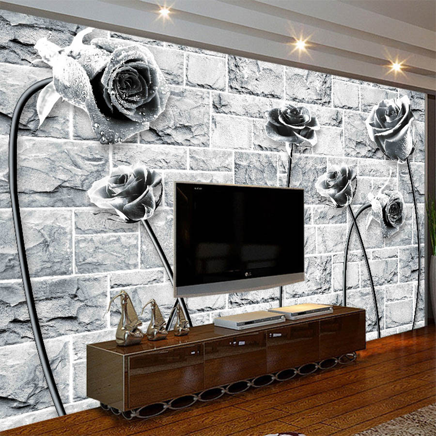 Cool Black White Rose On Brick Wallpaper Photo 3d Room Natural