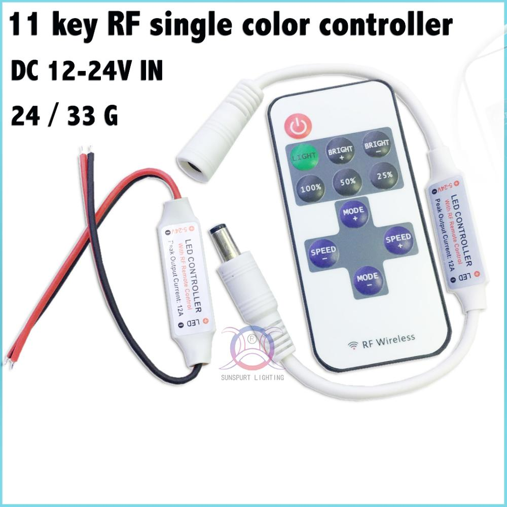 1-10 Pieces Advanced chip 11key LED RF single color controller DC12-24V Red line DC line ...