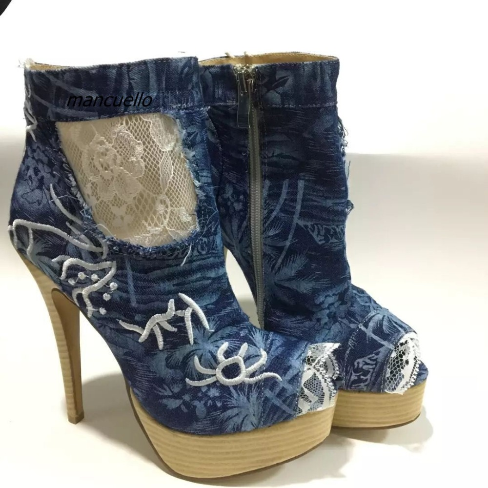 Fancy Jean Lace Matched Platform Sandals Blue Denim Embroidery Decorated Peep Toe Spike Heel Dress Sandals Particular Shoes rose decorated toe post flat sandals
