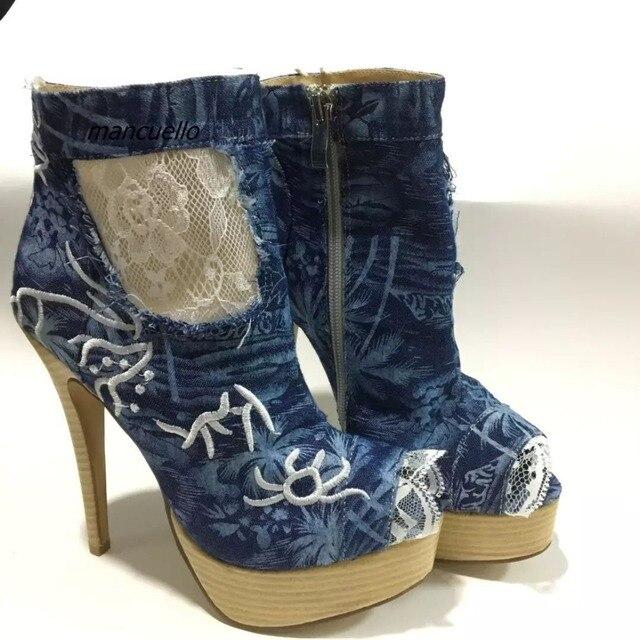 a0db64f1d906 Fantaisie Jean Dentelle Assortie Plate-Forme Sandales Bleu Denim Broderie  Décoré Peep Toe de Spike